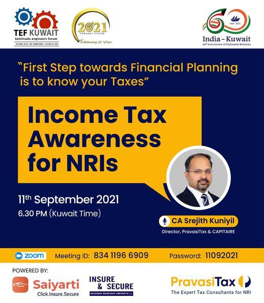 "1 - 19 | ""Tax Awareness for NRIs"" by CA Sreejith Kuniyil, Director, PravasiTax"